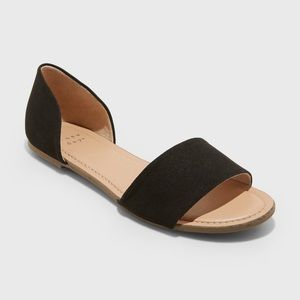 A New Day Keira Two Piece Black Slide Sandals